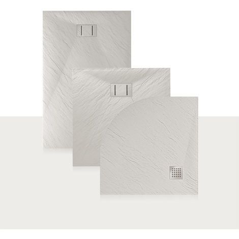 Plato de ducha 80x160x2,6 CM Rectangular Blanco Efecto Piedra mod. Blend