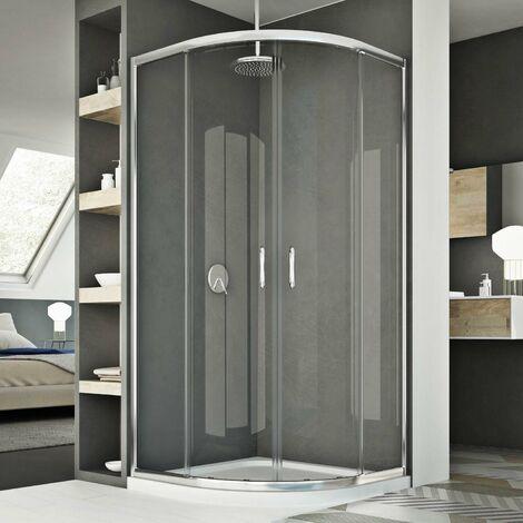 Mampara de ducha semicircular 80x80 CM H185 Transparente mod. Junior