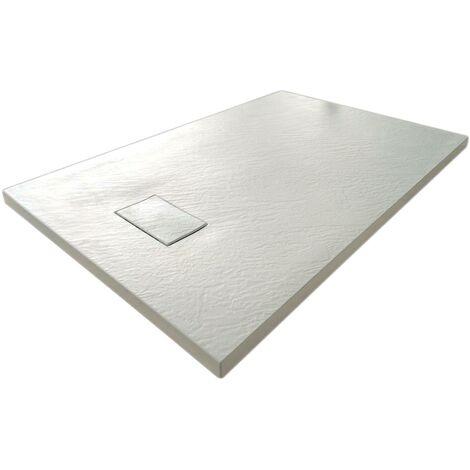 Plato de ducha 80x80x2,6 CM Cuadrado Blanco Efecto Piedra mod. Strong