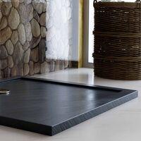 Plato de ducha bordeado antracita efecto piedra de acrílico mod. Flower 80x120x4 cm rectangular