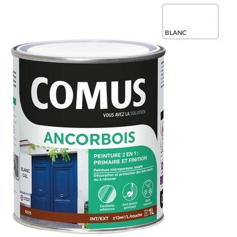 ANCORBOIS blanc 1L - Peinture de protection et de décoration microporeuse 2 en 1 (primaire et finition) bois