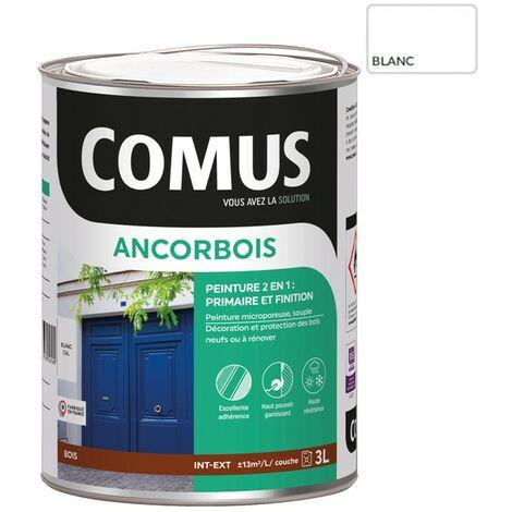 ANCORBOIS blanc 3L - Peinture de protection et de décoration microporeuse 2 en 1 (primaire et finition) bois