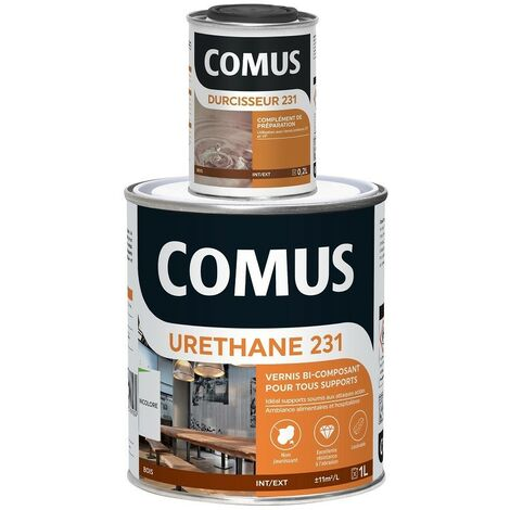 URETHANE 231 incolore (B+D) - SATINE 1,2L - Vernis polyuréthane bi-composant tous supports - COMUS