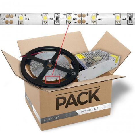 LuzConLed - Kit de tira LED 2 metros 12V DC 15W por metro luz blanca 6500k con transformador - ENVÍO DESDE ESPAÑA