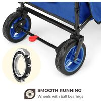 Easy Rider Wagon Handcart with Roof up to 70kg Telescopic Pole Blue
