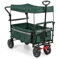 Easy Rider Handcart Wagon with Roof up to 70kg Telescopic Pole Green