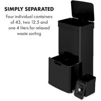 Touchless Black Stainless Steel Rubbish Bin Sensor 72L Black