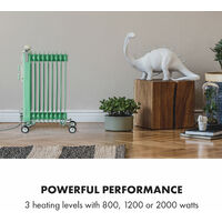 Thermaxx Retroheat Oil Radiator 2000W Floor Rollers Green