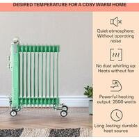 Thermaxx Retroheat Oil Radiator 2500W Floor Rollers Green