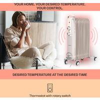 Thermaxx Retroheat Oil Radiator 2500W Floor Rollers Taupe