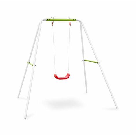 OneConcept Miri Balançoire enfant de jardin, armature, cordes et assise verte