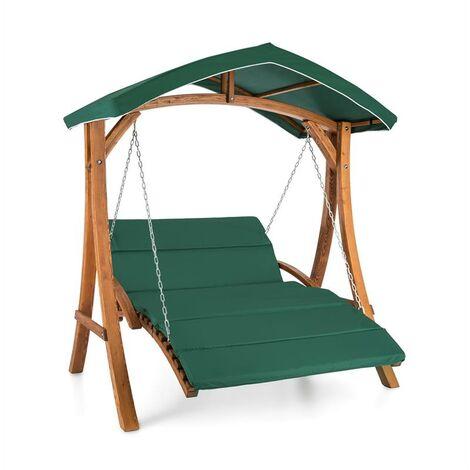 blumfeldt Aruba Balancelle de jardin 130 cm 2 places voile d'ombrage bois massif