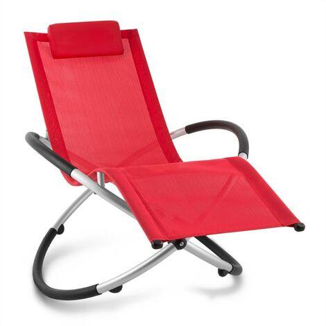 Chilly Billy Chaise longue jardin transat aluminium -rouge