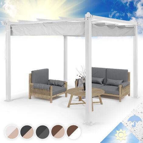 Pantheon Pergola tubes carrés d'aluminium 3x3 m 4 poteaux d'angle hydrofuge