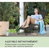 Beverly Wood Chaise longue à bascule bain de soleil aluminium noir