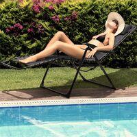 California Dreaming Chaise de jardin transat pliant cadre acier gris