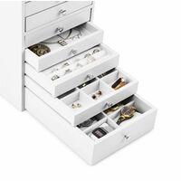 Pompadour Armoire à bijoux écrin 10 tiroirs 21,5x40,5x29cm -blanc
