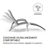 blumfeldt Beverly Wood Chaise longue à bascule bain de soleil aluminium gris