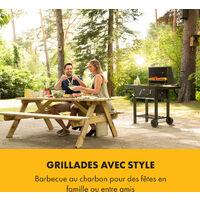 Meat Machine grill barbecue à charbon de bois, 45x32,5 cm , thermomètre , roulettes, noir