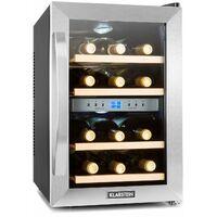 Reserva 12 Duo - Frigorifero per vini a due zone, 34 litri, 12 bottiglie, acciaio inox