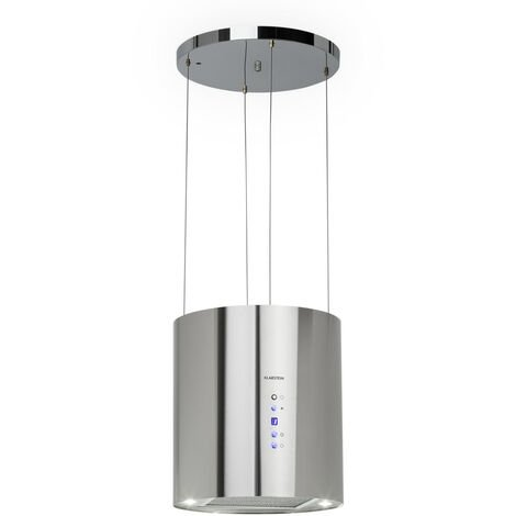 Klarstein Barett Campana extractora de isla Ø35 cm Circulación de aire 590 m³/h LED Acero inoxidable