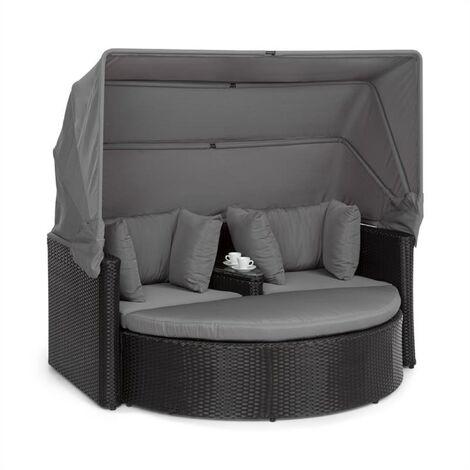 blumfeldt Heartland Sofá lounge de 2 plazas con mesa taburete sombrilla de color gris