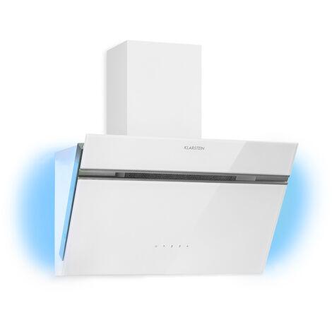 Klarstein Alina campana extractora 600 m³/h luz ambiental cristal frente de cristal blanco