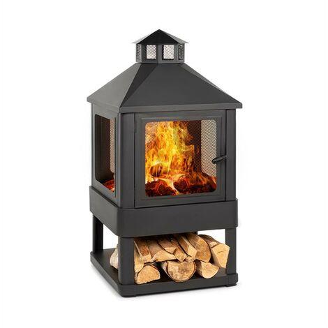 Macondo chimenea brasero 35x35cm compartimento para madera negro