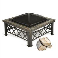 Cuenco de fuego Merano 75x75 cm diseño de azulejos acero ennegrecido