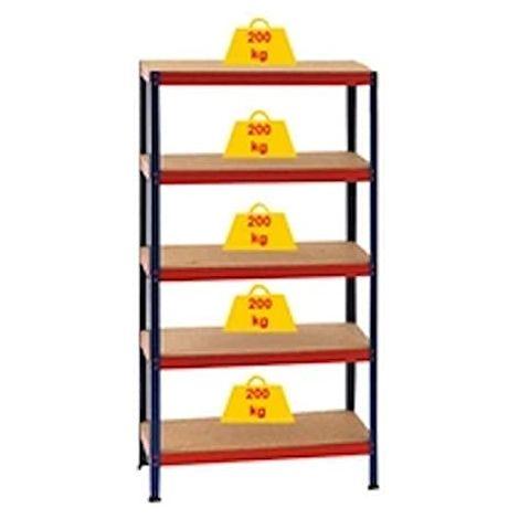 Estanteria por modulos vertical, 5 baldas de maderas que soportan cada una 200kg, color blanco, material madera y chasís metalico, medidas 177x90x45cm 99955500