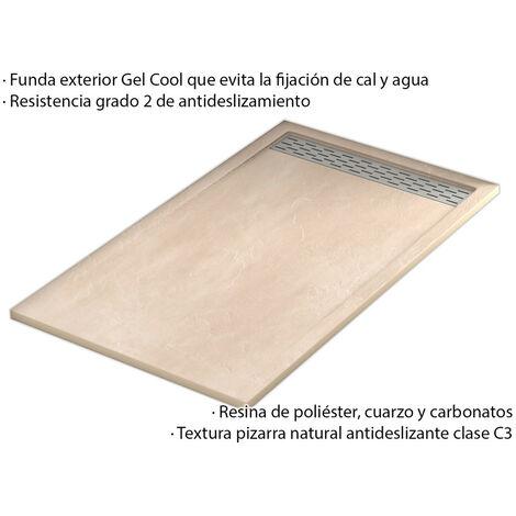 Plato Ducha Resina Efecto Pizarra Extraplano, Resistente al Rayado, Muy Agradable al Tacto. Con Rejilla Extralarga 80x120 Blanco