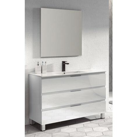 KIT Mueble de Baño Modelo AUSTRIA PORCELANA, Conjunto formado por Mueble de Baño BLANCO 80cm, Lavabo de Porcelana y Espejo