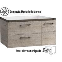 KIT Mueble de Baño MIÑO RESINA, Formado por Mueble de Baño Color ROBLE Ancho 80cm, Lavabo de RESINA y Espejo a Juego