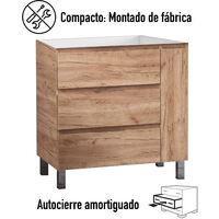 KIT Mueble de Baño ESTONIA RESINA, Formado por Mueble de Baño Color TABACO 80cm, Lavabo de RESINA y Espejo a Juego