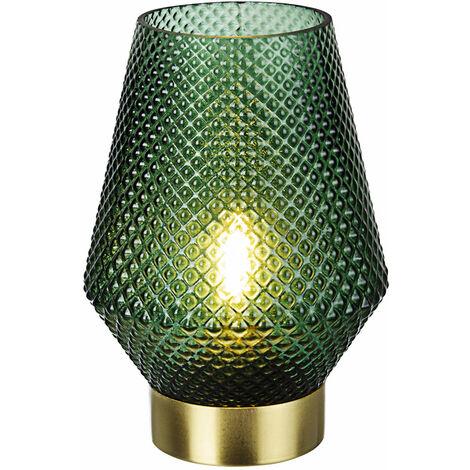 Lampada Da Tavolo Decorativa Senza Fili A Batterie Led In Vetro Rosa Verde E27 Colore Verde