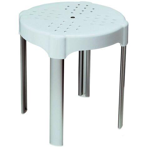Sgabello Doccia Vasca Bagno Forato con 4 Gambe Confort Ø 35 cm Bianco Metaform