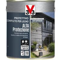 V33 Protettivo Completo Legno Alta Protezione Esterno Interno Persiane Finestre - Colore: Grafite - Formato: 0,75 Lt