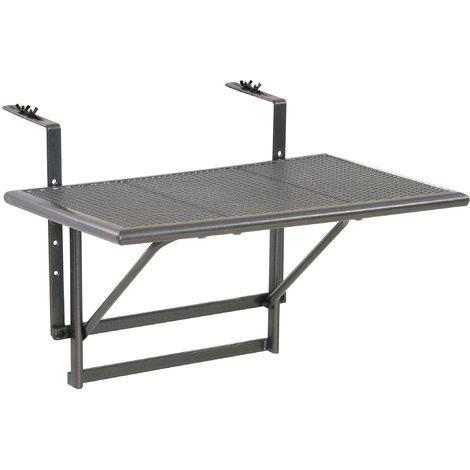 Tavoli Pieghevoli Da Terrazzo.Greemotion Tavolino Da Balcone Pieghevole Toulouse Tavolino Da Ringhiera Con Ripiano Reticolato In Acciaio Tavolo Sospeso