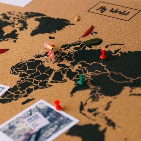 Cartina Mondo In Sughero.Miss Wood Map Xl Cartina Del Mondo Di Sughero 0 4x60x90 Cm Nero
