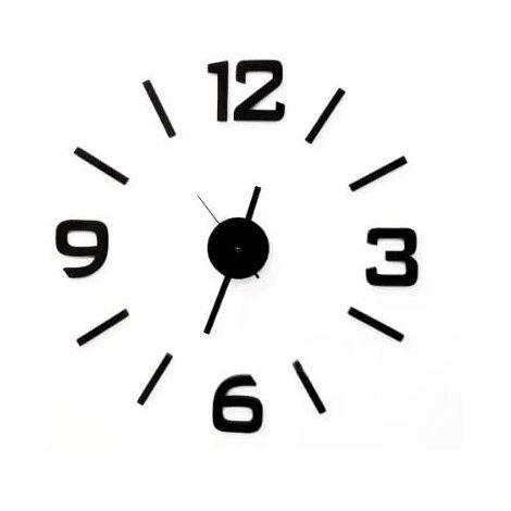 Reloj pared adhesivo redondo 50 cm Negro