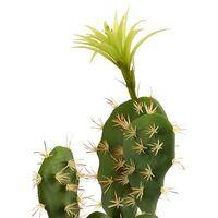 Planta de plastico chumbera flor blanca 46 cm Verde