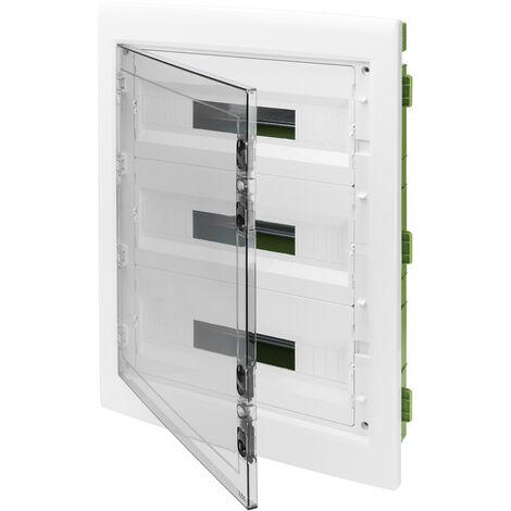 Tablero de conmutación de montaje empotrado Gewiss 54 módulos (c 18x3) con puerta de humo IP40 GW40610PM