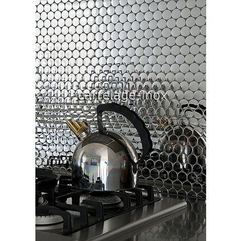 carreaux de mosaique effet miroir en acier inoxydable pour mur de cuisine et mur de salle de bain SORA