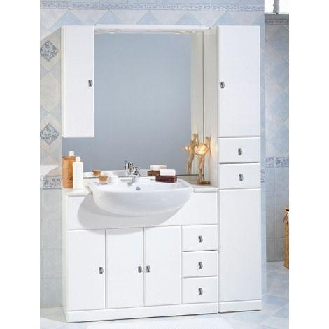 Colonna Specchio Bagno.Mobile Bagno 100 30 Cm Arredo Bianco Con Lavabo Semincasso Specchio Con Pensile E Colonna Cla102
