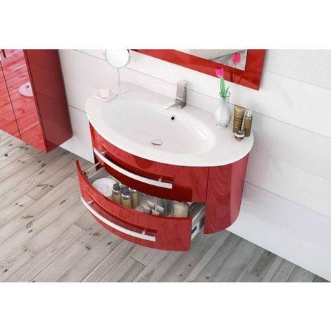 Arredo Bagno Moderno Rosso.Arredo Bagno 100 Cm Lavabo Specchio Incluso Mobile Sospeso Moderno In Rosso Mobili Mar25