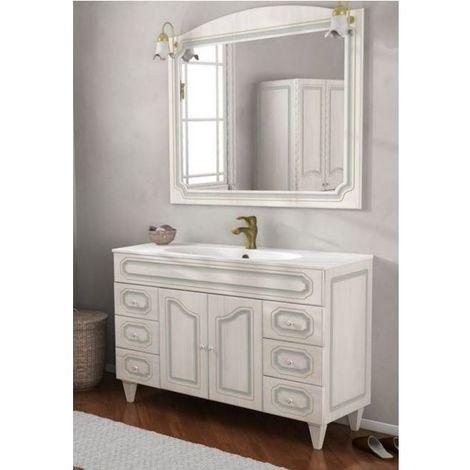 Accessori Per Bagno Arte Povera.Arredo Bagno 120cm Mobile Arte Povera Bianco Decape Con Specchio Mobili Lavandino In Ceramica Carv130
