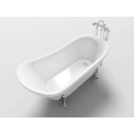 Vasca freestanding da bagno 160x72x75 cm stile retrò ovale classica con piedini