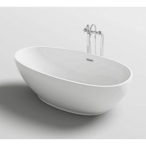 Vasca da bagno 180x90x58 freestanding centro stanza stile ovale design moderno