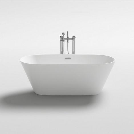 Vasca da bagno 170x80x58h freestanding bianca design moderno centro stanza