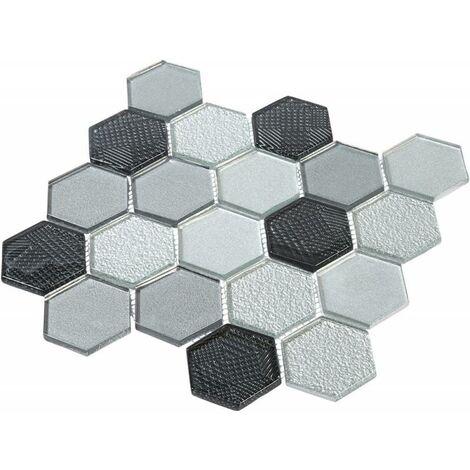 Mosaïque Verre - Mix Gris - Hexagones - Gris
